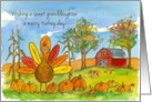 Happy Thanksgiving Sweet Granddaughter Turkey Red Barn card
