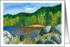 Happy Birthday Autumn Trees Lake Landscape Painting card