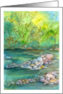 Miss You River Autumn Trees Landscape Watercolor Painting card