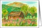 Happy Birthday Autumn Barn Landscape Watercolor Painting card