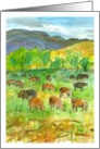 Happy Birthday Cows In Pasture Mountain Landscape Watercolor card