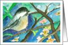 Happy Birthday Chickadee Bird In Tree Watercolor Flowers card