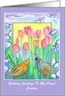 Happy Birthday Friend Custom Name Quail Birds Watercolor Flowers card