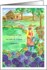 Thinking of You Custom Name Woman Gardening Purple Alliums card