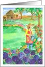 Woman Gardening Purple Alliums Watercolor Painting Blank card