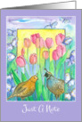 Just A Note Quail Birds Pink Tulips Watercolor Painting Blank card