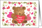 Happy Valentine's Day Teddy Bear Red Hearts card