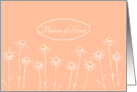 Matron of Honor Invitation Wedding Party Coral Peach White Daisy card
