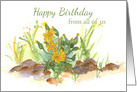 Happy Birthday From all of Us Yellow Desert Flowers Watercolor card