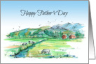 Happy Father's Day Cows Farm Landscape Watercolor Drawing card