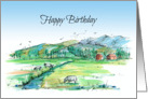Happy Birthday Cows Country Landscape Watercolor Drawing card