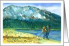 Happy Birthday My Love Romantic Couple Walking Dog Watercolor card