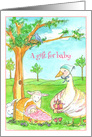 Baby Shower Mother Goose Lamb Rabbit Animals Watercolor card
