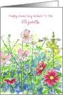Happy Name Day Custom Name Honey Bee Wildflower Garden card