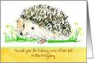 Pet Sitter Thank You Hedgehog Animal Drawing Custom card