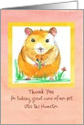 Pet Sitter Thank You Hamster Animal Drawing Custom card