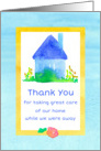 House Sitter Thank You Blue House Watercolor card