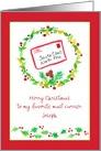 Merry Christmas Postal Mail Carrier Holly Custom Name card