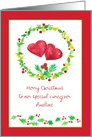 Merry Christmas Caregiver Red Hearts Holly Custom Name card