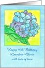 Happy 90th Birthday Blue Hydrangea Flower Custom Name card