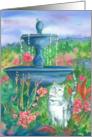 Happy Birthday White Cat Fountain Garden card