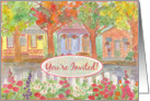 Housewarming Party Open House Invitation Cottage Houses Watercolor card