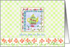 Tea Party Invitation Green Teapot Orange Flowers Green Checks card