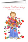 Mother's Day From Son Flower Bouquet Red Butterflies card