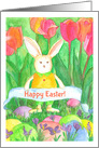Happy First Easter Baby Bunny Bees Spring Flower Meadow card