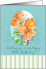 Happy 40th Birthday Orange Pansy Watercolor Flower Garden card