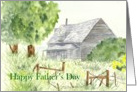 Father's Day Country Home Cabin Watercolor card