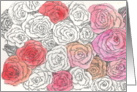 Mother's Day Grandma Roses Pen and Ink Flower Art card
