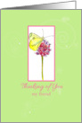 Thinking of You My Friend Butterfly Wildflower card