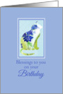 Blessings To You On Your Birthday Floral Blue Cat card