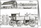 Vintage Antique Wagon Ranch Landscape Art Blank Card