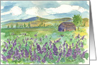 Purple Lupin Flower Field Watercolor Art Blank Note Card