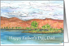 Happy Father's Mountain Lake Landscape Watercolor Art card