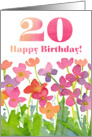 Happy 20th Birthday Pink Watercolor Flowers card
