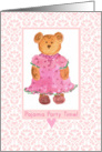 Pajama Party Invitation Girl Teddy Bear card