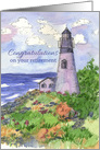 Business Retirement Congratulations Lighthouse Watercolor Landscape card