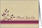 Business Party Invitation Wine Cocktails Burgundy Leaves Stripes card