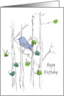 Happy Birthday Bluebird Trees Leaves Pen and Ink Nature Art card