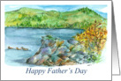 Happy Father's Day Birds Mountain Lake Landscape Painting card