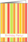 Birthday Party Invitation Bright Orange Red Stripes card