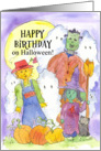 Happy Birthday on Halloween Frankenstein Scarecrow Witch Ghosts card