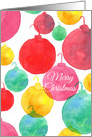 Merry Christmas Holiday Ornaments Watercolor Illustration card