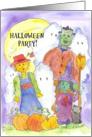 Halloween Party Invitation Frankenstein Scarecrow Witch Ghosts card
