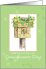 Happy Grandparents Day Birdhouse Garden Bees Drawing Art card