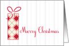 Merry Christmas Argyle Gift Grey White Pinstripe Modern Card