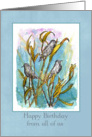 Happy Birthday From All Of Us Birds Trees Watercolor Nature Art card